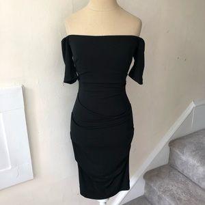 Nicole Miller Off the Shoulder Ruched Dress EUC